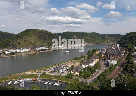 Rhine Valley with St. Goar and St. Goarshausen, Unesco World Heritage Upper Middle Rhine Valley, Rhineland-Palatinate, - Stock Photo