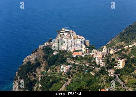 Townscape of Corniglia, Cinque Terra, Italian Riviera, Liguria, Italy - Stock Photo