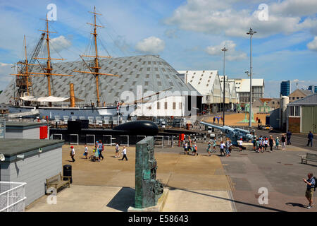 Chatham, Kent, England, UK. Chatham Historic Dockyard. View from the deck of HMS Cavalier - Stock Photo