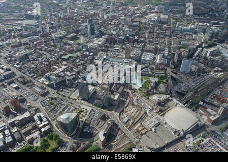 An aerial view of Manchester City Centre - Stock Photo