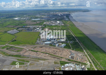 An aerial view looking south along the Severn on a very clear day.  Avonmouth, Bristol and Portishead are all visible. - Stock Photo