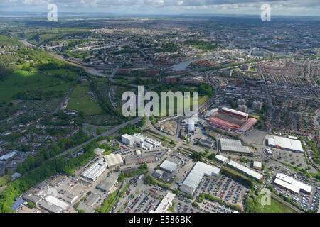 An aerial view of Bristol with the Ashton Gate area in the foreground looking over towards the Severn Crossings - Stock Photo
