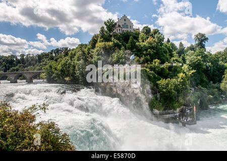 Switzerland, Rhinefall Schaffhausen, Rhine Falls on the river Rhine, - Stock Photo