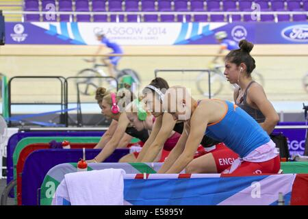Glasgow, Scotland, UK. 23rd July 2014. The final training session at the Sir Chris Hoy Velodrome before the start - Stock Photo