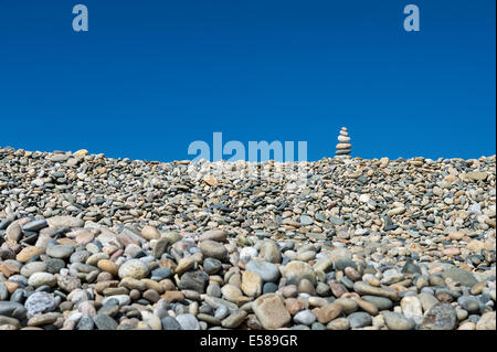 Rock cairn on Stonewall Beach, Chilmark, Matha's Vineyard, Massachusetts, USA - Stock Photo