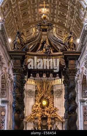 Baroque Canopy, baldacchino and Apse Gloria by Bernini, Saint Peter's Basilica, Vatican City, Rome, Italy - Stock Photo