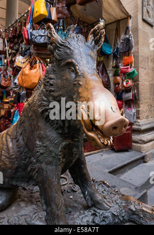 Il Porcellino sculpture at Mercato Nuovo, Florence, Italy - Stock Photo