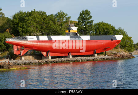 WWII veteran submarine Vesikko of the Finnish Navy on display as a museum ship at Suomenlinna sea fortress. - Stock Photo
