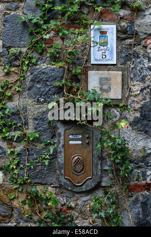 Rustic exterior wall with ivy, mailbox and house number, Porto Venere, Italy - Stock Photo