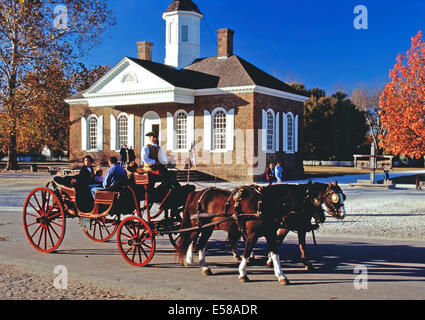 Horse and carriage tour,Colonial Williamsburg,Virginia - Stock Photo