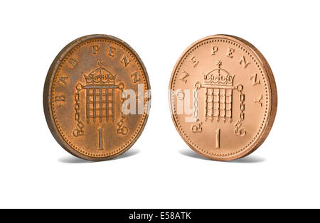 A bad penny facing a new penny - Stock Photo