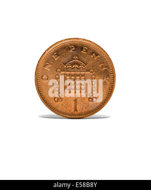 Front on shot of an old one penny coin - Stock Photo