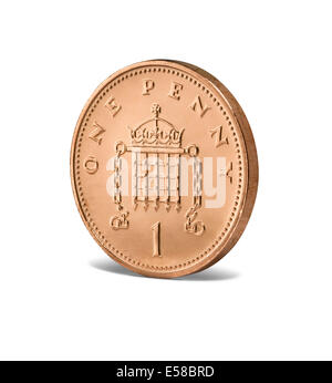 A new one penny coin - Stock Photo
