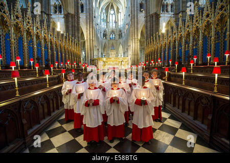 Westminster Abbey.Pic Shows Choir boys from Westminster Abbey rehearsing ahead of the Christmas events - Stock Photo