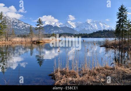 Barmsee near Mittenwald and Garmisch-Partenkirchen, Karwendel Gebirge in the background, Upper Bavaria, Oberbayern, - Stock Photo