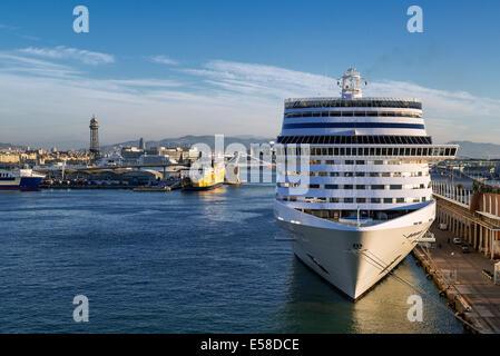 Cruise ship docked in harbor, Barcelona, Spain - Stock Photo