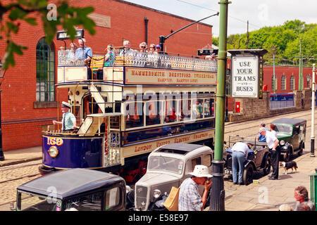 Street scene at Crich Tramway Village - Stock Photo