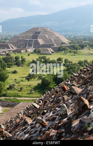 Pyramid of the Moon seen from Pyramid of the Sun, Teotihuacan, Mexico - Stock Photo