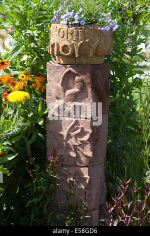 Tatton Park, Manchester, UK. 23rd July, 2014.  Norton Priory stone carved column, entry at the RHS - Royal Horticultural - Stock Photo