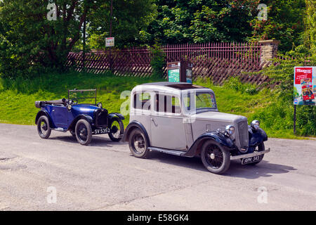 Austin Seven Owners Club arriving at Crich Tramway Village - Stock Photo