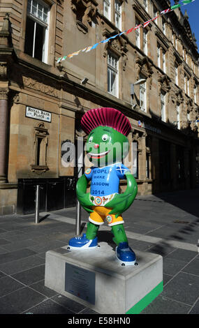 Glasgow, Scotland, UK. 23rd July, 2014. Glasgow city scene showing the games mascot. Commonwealth Games 2014 opening - Stock Photo