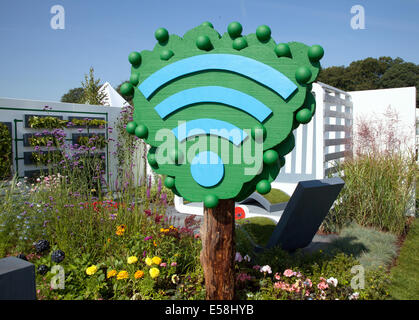 Tatton Park, Manchester, UK. 23rd July, 2014. Wi-Fi garden at the RHS - Royal Horticultural Society  carnival-themed - Stock Photo