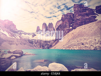 Vintage photo of Torres del Paine National Park, Patagonia, Chile - Stock Photo