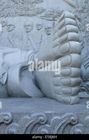 Feet of Reclining Buddha at Long Son Pagoda, Nha Trang - Stock Photo