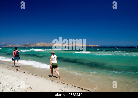 Tingaki Beach, with the Islands of Pserimos and Kalymnos on the right, Kos Island, Dodecanese Islands, Greece. - Stock Photo