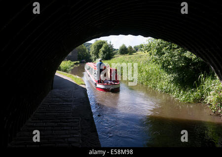 Narrowboat on the Rochdale Canal, Luddenden Foot, West Yorkshire - Stock Photo