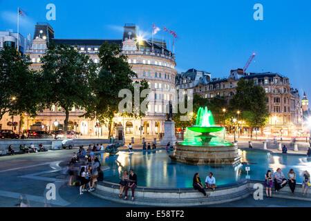 Trafalgar Square Night London UK - Stock Photo