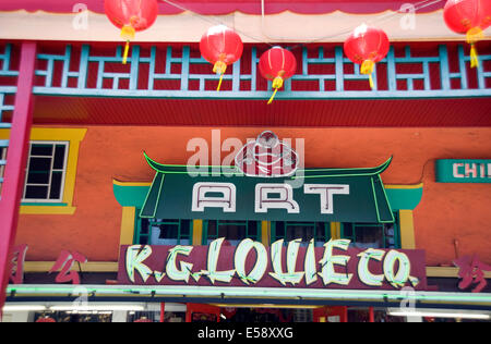 Signs in Chinatown in downtown Los Angeles - Stock Photo