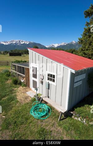 Chicken coop in Oregon's Wallowa Valley. - Stock Photo