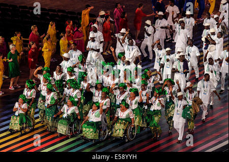 Glasgow Scotland, July 23, 2014.  Opening Ceremony of the Glasgow 2014 Commonwealth Games at Celtic Park on 23rd - Stock Photo