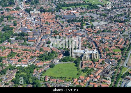 An aerial view of the centre of Beverley. A town in East Yorkshire, UK. - Stock Photo