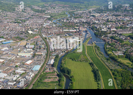 An aerial view looking north along the River Exe towards Exeter City Centre in Devon, UK