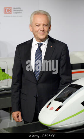 Berlin, Germany. 24th July, 2014. CEO of Deutsche Bahn (DB) Ruediger Grube during the DB midyear press conference - Stock Photo