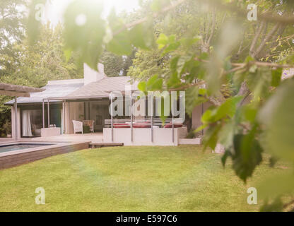 Pool and lawn in backyard of modern house - Stock Photo