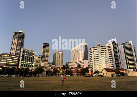 Australia, Perth, central business district, Langley Park, high-rise buildings in the evening light - Stock Photo