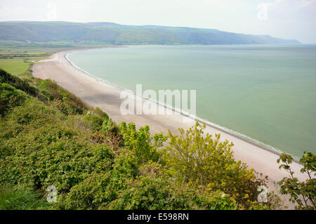 Porlock Bay & Marsh viewed from Hurlstone Point - Stock Photo