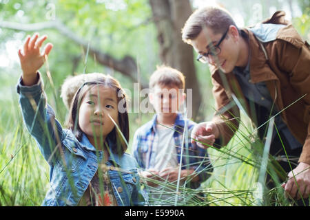 Students and teacher examining grass in forest - Stock Photo