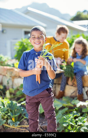 Boy holding bunch of carrots in garden - Stock Photo