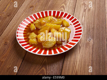 Candied Sweet Potatoes - close up - Stock Photo
