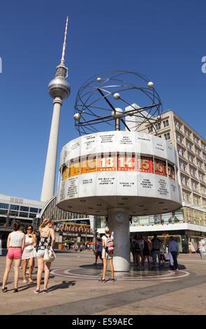 World Clock and Television Tower, Alexanderplatz, Berlin, Germany - Stock Photo