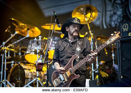Motörhead performing live (singer Lemmy Kilmister) in July 2014 - Stock Photo