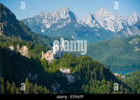 Germany, Bavaria, Allgaeu, East Allgaeu, Hohenschangau, Neuschwanstein Castle near Fuessen - Stock Photo