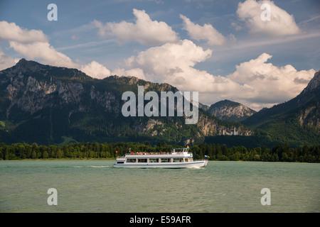 Germany, Bavaria, Allgaeu, East Allgaeu, Neuschwanstein Castle, Lake Forggensee with excursion boat MS Allgaeu - Stock Photo