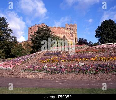 Tamworth Castle and Castle Gardens, Tamworth, Staffordshire, England, UK, Western Europe. - Stock Photo