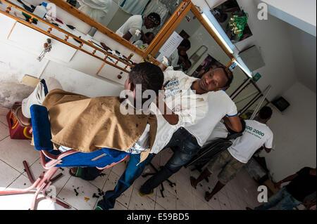 Men at work in Mindelo, Sao Vicente Island, Cape Verde. - Stock Photo