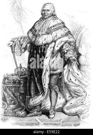 Louis XVIII, Louis Stanislas Xavier, 1755-1824, King of France and Navarre of the House of Bourbon, Ludwig XVIII., - Stock Photo